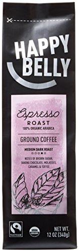 Amazon Brand - Happy Belly Espresso Roast Organic Fairtrade Coffee, Medium Dark Roast, Ground, 12 ounce by Happy...