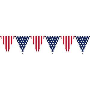 Amscan Amazing Patriotic Pennant Banner, 12', Red/White/Blue