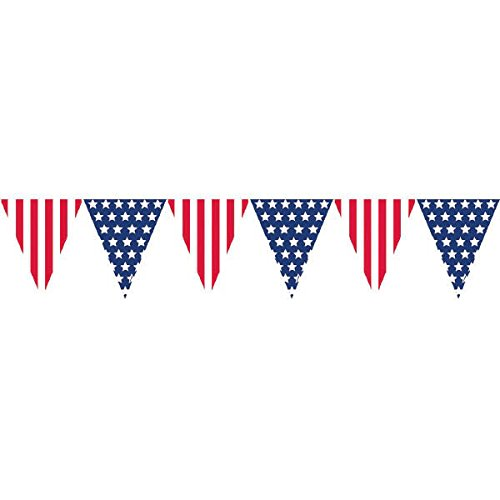 Amscan Amazing Patriotic Pennant Banner, 12, Red/White/Blue (Value -