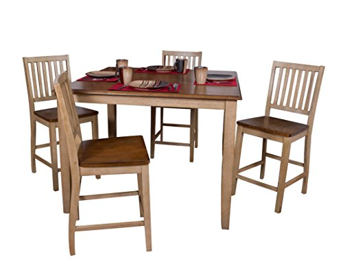 Sunset Trading DLU-BR4848CB-B60-PW5PC Brook Pub Table Set Two Tone Wheat and Pecan