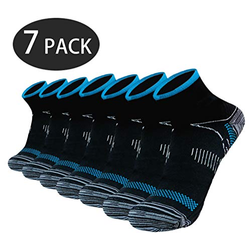 Sport Plantar Fasciitis Arch Support Compression Foot Socks/Foot Sleeves (7 Pairs) - Increases Circulation, Relieve Pain Fast (Black&Blue, S/M)