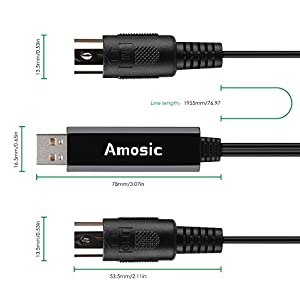 Amosic USB In-Out MIDI Cable Converter, Piano Keyboard to PC Laptop Mac Adapter Cord for Home Music Studio (6.5 ft)