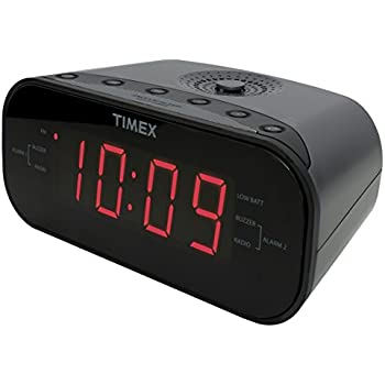 timex t231gy amfm dual alarm clock radio with 12inch red display and