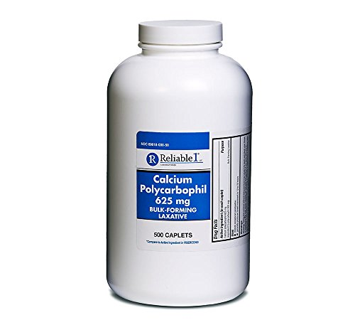 Calcium Polycarbophil 625 mg 500 Caplets Fibercon Generic Fiber Therapy for Regularity Bulk-forming Fiber Laxative