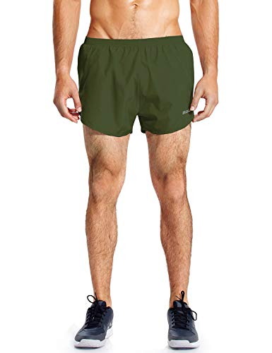 (Baleaf Men's Quick-Dry Lightweight Pace Running Shorts Army Green Size M)