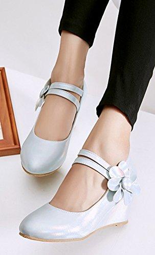 Aisun Donna Fiore Gancio E Passante Dressy Low Cut Scarpe A Punta Tacco Medio Con Zeppa Scarpe Con Cinturino Alla Caviglia Blu