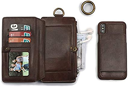 Wallet Smart Cover for iPhone XS Max,SIX-SEVEN 6.5 inch Detachable PU Leather Wallet Protective Folio Case with Credit Card Slots Money Pocket Clutch Cover Lightweight Smart for Men Women,Light Brown