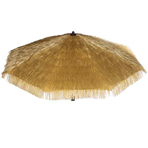 - Bayside-21 Polyester Umbrella Canopy sew Artificial Plastic Straw 9ft - 8 Ribs Umbrella Replacement Canopy Only Grass Umbrella Canopy (9', Tiki Natural)