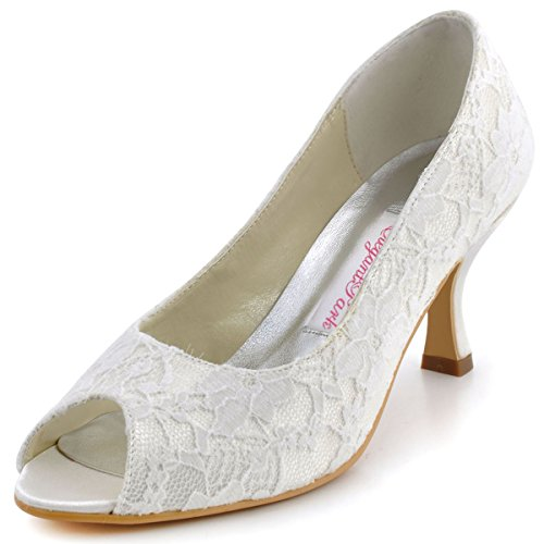 ElegantPark EP11013-25 Women Peep Toe Pumps Comfort Heel Lace Wedding Bridal Dress Shoes Ivory US 8