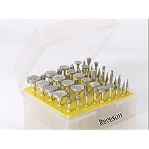 Revesun Diamond Burr Bits 50Pc Tough Rotary Tools Accessories 120 Grit Ceramics Tile Glass Lapidary