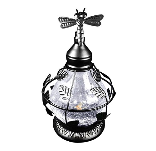 Solar Table Top Lamp, Dragonfly Theme With Rotating Light, With Crackled Glass - Black - Dragonfly Solar Light