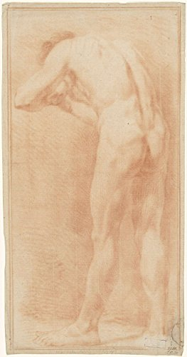 "Classic Art Poster - Standing male nude, seen from behind, bent over, turned slightly to the left, anonymous, 1700 - 1800 13"" x 24"""