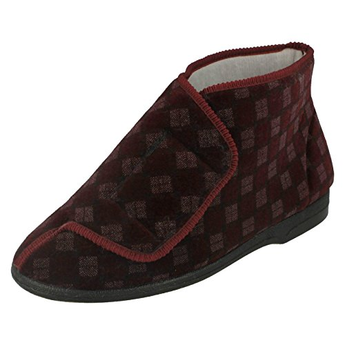 Mens Balmoral Casual Slipper With Velcro Fastening Burgundy