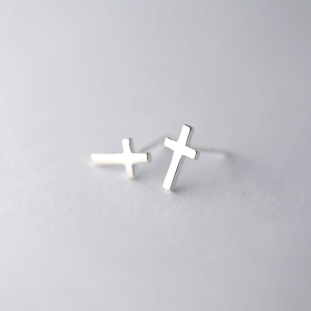 a9a9f24db Amazon.com: HANFLY 925 Sterling Silver Cross Stud Earrings Fashion Earrings  Cross Earrings (Silver): Jewelry