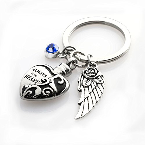 Cremation Urn keychains Always in My Heart Memorial Pendant Keepsake Ash Locket Rose Key Ring Vintage Angel Wing Charm Jewelry
