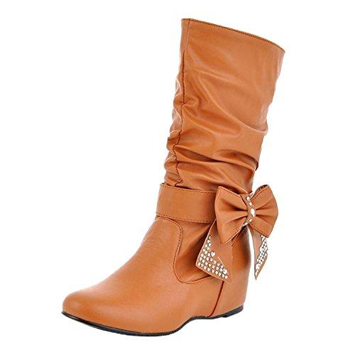 Nonbrand, Damen Stiefel & Stiefeletten , Beige - Beige - marrón - Größe: 45