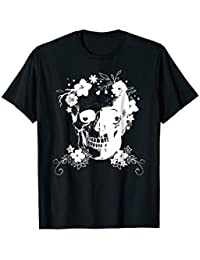 Halloween Day of the Dead Skull with Flowers T-shirt, White