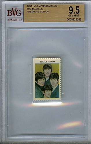 1964 Hallmark BEATLES Group Stamp BGS 9.5 GEM MINT Vintage ! Features John Lennon, Paul McCartney, George Harrison and Ringo Starr! Over 50 Years Old ! Shipped in Ultra Pro Graded Card Sleeve ! from Wowzzer
