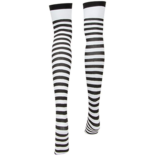 Alice in Wonderland Striped Tights for Women | Thigh-High Halloween Costume White - http://coolthings.us