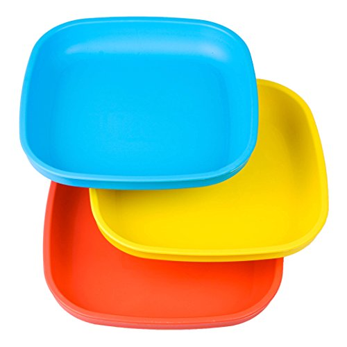 - Re-Play Made in USA 3pk Toddler Feeding Divided Plates with Deep Sides for Easy Baby, Toddler, and Child Feeding - Sky Blue, Red, Yellow (Preschool)