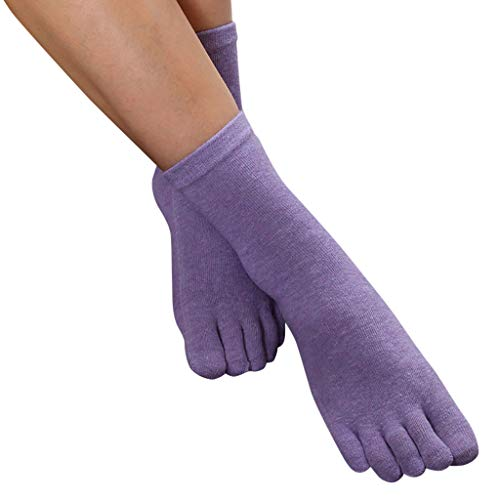 Price comparison product image Women's Socks, Low Cut Toe Socks 5 Finger No Show Cotton Mesh Wicking Athletic 4 Pack(Purple)