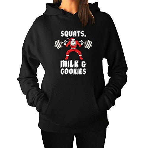 Woman's Squats Milk and CookiesPullover Hoodie Sweatshirts L Black hot (Jokes Bad Christmas Puns)