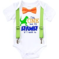 Dinosaur First Birthday Shirt Outfit Boy One Rawr Bow Tie Suspenders