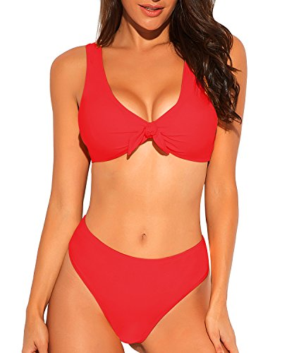 Funnygirl Women's Sexy Bikini Set Tie Knot Front High Waist Thong 2 Pieces Swimsuit Beach Swimwear Bathing Suit Red ()