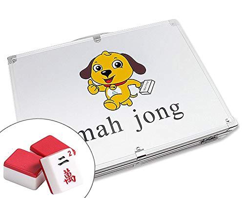 高品質麻將 Classic Chinese Mahjong Game Set - 144 Numbered Red Melamine TilesLucky Dog Pattern Aluminum case Complete Set Weighs 9 lbs ( Mahjongg, Mah-Jongg, Mah Jongg, Majiang)