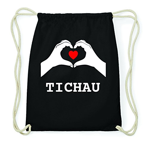 JOllify TICHAU Hipster Turnbeutel Tasche Rucksack aus Baumwolle - Farbe: schwarz Design: Hände Herz XxAi7xc