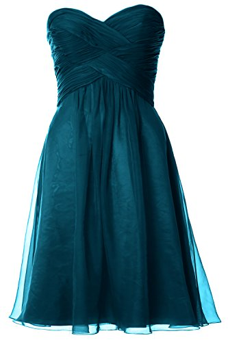 MACloth Women Pleated Chiffon Short Bridesmaid Dress Wedding Party Gown Teal