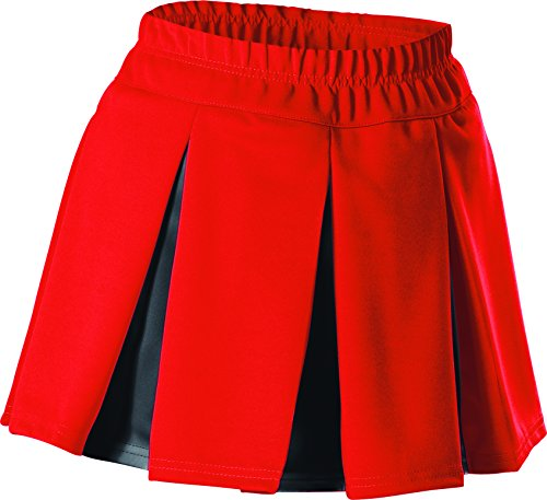Alleson Women's Cheerleading Multi Pleat Skirt, Red/Black, X-Large Pleat Cheer Skirt
