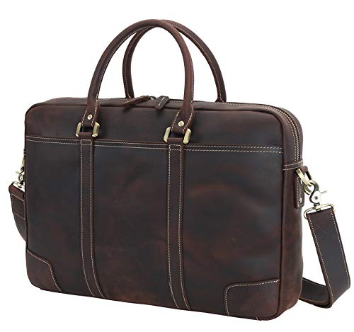 Texbo Men's Solid Large Full Grain Cowhide Leather Vintage 17.3