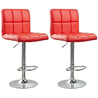 Ediors Set Of 2 Swivel Elegant PU Leather Adjustable Hydraulic Morden Bar Stools Chairs Red