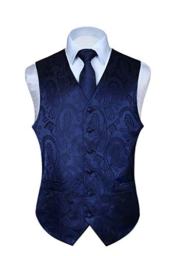 HISDERN Men's Paisley Floral Jacquard Waistcoat & Neck Tie and Pocket Square Vest Suit Set Navy Blue