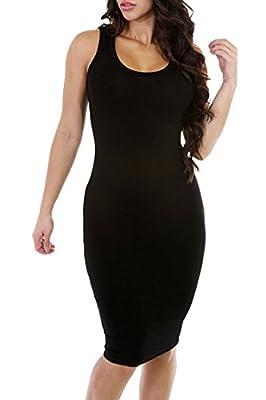 Meenew Women's Scoop Neck Sleeveless Knee Length Casual Bodycon Tank Dress