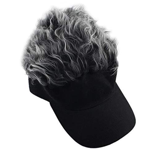 Sample9 - Men&Women Fake Flair Hair Baseball Cap Sun Visor Fun Halloween Party Toupee -