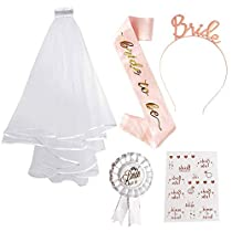FUNCUBE Bride to Be Sash and Veil Hen Party Set Tattoos Hen Do Accessories for Bridal Shower Hen Party Decoration