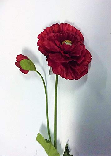 Red Giant Double Poppy /& Bud Artificial Silk Flowers 32in Tall Pack x3 Stems