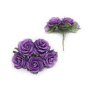 "1"" Purple Paper Flowers Paper Rose Artificial Flowers Fake Flowers Artificial Roses Paper Craft Flowers Paper Rose Flower Mulberry Paper Flowers, 20 Pieces 9"