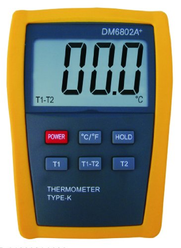 Digital 2 k-type Thermocouple Thermometer DM6802 for HVAC, Furnace, Heater