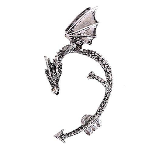 Lavany Women's Metal Dragon Bite Ear Cuff Wrap Earring Gothic Punk Temptation Earrings Jewelry (Silver)
