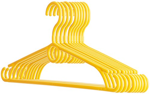 "Dream-home Childrens Plastic Clothes Hangers – 12.6"" Wide – 360° Swivel Hook – Strong & Durable – Side Hooks for Spaghettis & Baby Dresses, Loop for Cascading or Kids Accessories – Set of 20 – Yellow by Dream-home"