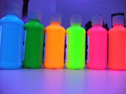 Set of 6 Neon Fluorescent Water Color Paints- UV Sampler Set 1/2oz pots