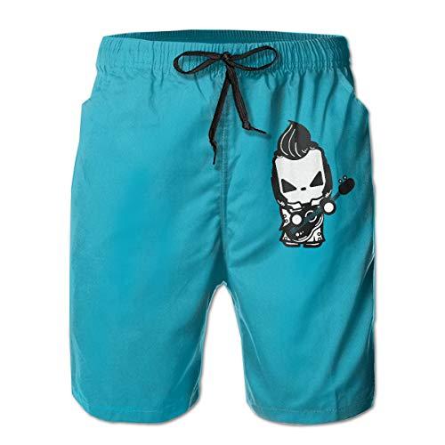 (Hillbilly Cat Elvis Men's Beach Shorts Swim Trunks Drawstring Elastic Waist Surfing Board Shorts Black )