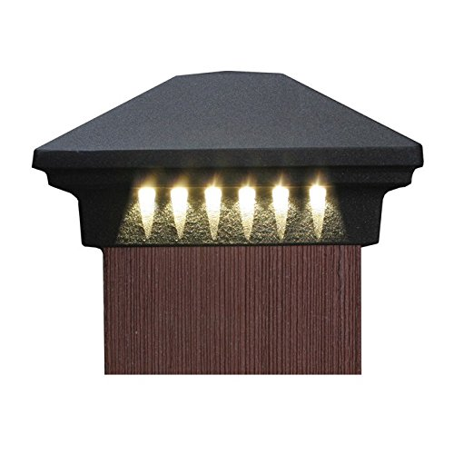 LED Post Cap Light by DEKOR – Cast Aluminum,12VDC transformer required, Corner Lights for Deck & Fence Post Caps, NOT SOLAR