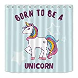 Born to Fish Shower Curtain youyoutang Born to Be A Unicorn Shower Curtain Liner Waterproof Fabric 3D High-Definition Printing Does Not Fade,12 Shower Hooks,70.8X70.8 Inch,Home Decor,Bathroom Accessories