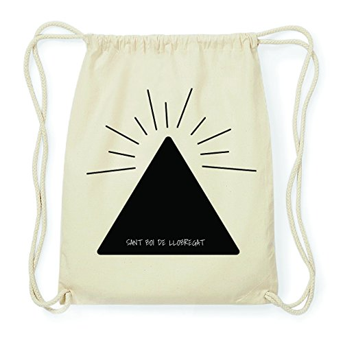 JOllify SANT BOI DE LLOBREGAT Hipster Turnbeutel Tasche Rucksack aus Baumwolle - Farbe: natur Design: Pyramide fVEQUv8Rua