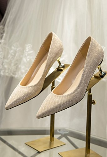 Cat Single And Bride Spring Fine Crystal Lady Light Heel Work Sharp 38 Shoes Dress Gold Shoes MDRW High Leisure Olici Wedding Heels 8Cm Shoes Elegant Heel 7xnUZgXH