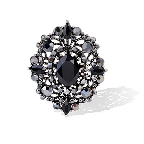 Women's Antique Classic Geometric Oval Shaped Hollowed Out Crystal Flower Filigree Brooch Pin Banquet Wedding Jewelry (Black)